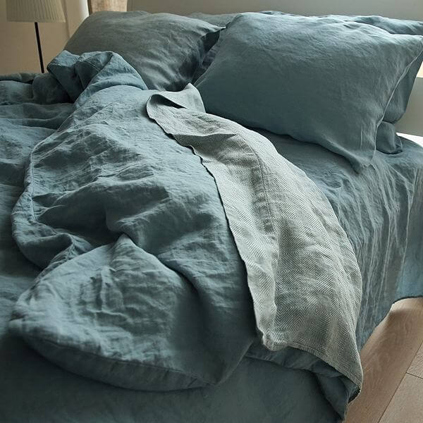 STONE BLUE STONE WASHED RHOMB BED LINEN FLAT SHEET