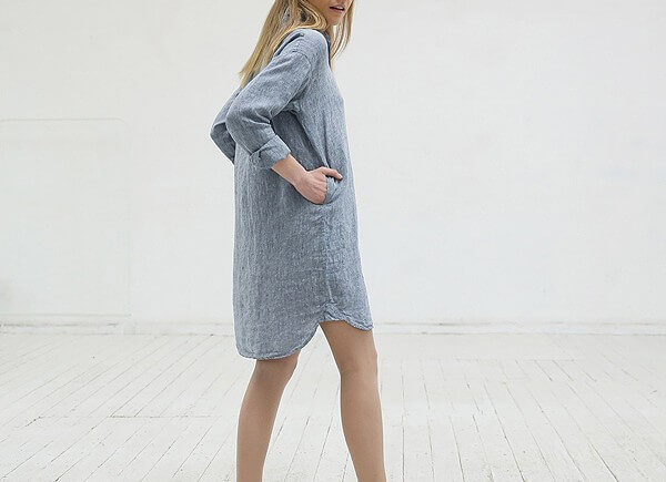linen shirtdress pockets - LinenMe