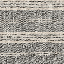 Black Multi Striped Linen Fabric