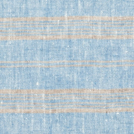 Fabric Sample Blue Multi Striped Linen