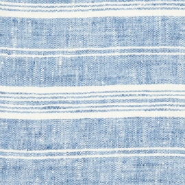 Fabric Prewashed Blue Multistripe Linen