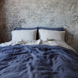 Linen Fabric Blueberry Stone Washed