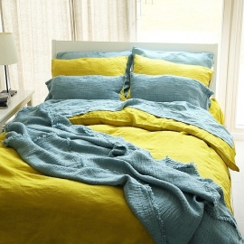 Linen Fabric Citrine Stone Washed