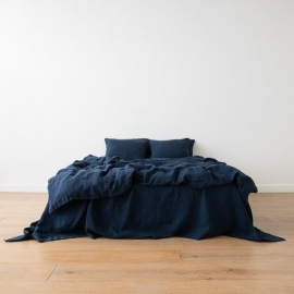 Navy Linen Fabric Stone Washed