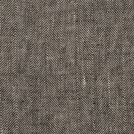 Black Linen Fabric Chevron Prewashed