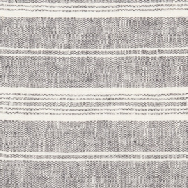Linen Fabric Prewashed Graphite Multistripe