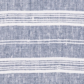 Fabric Dark Blue Linen Multistripe