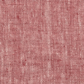Cherry Linen Fabric Chevron Prewashed