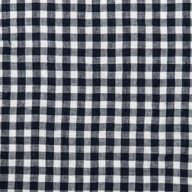 White Blue Linen Fabric Check
