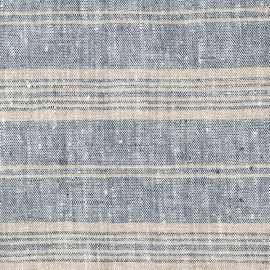 Linen Fabric Washed Multistripe Indigo Natural