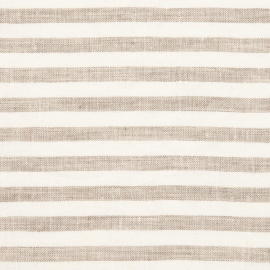 Linen Fabric Washed Ticking Stripe Natural