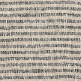 Linen Fabric Sample Black Natural Brittany
