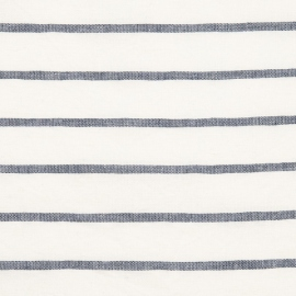 Linen Fabric Washed Stripe Indigo