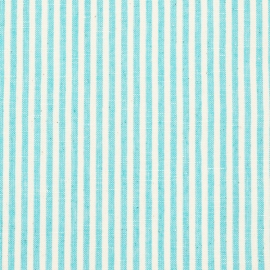 Linen Fabric  Sample Stripe Turkis