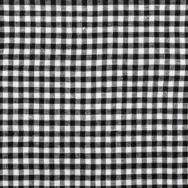 Black White Gingham Linen Fabric