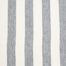 Linen Fabric White Blue Stripes