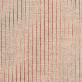 Natural Red Linen Fabric Stripe Washed