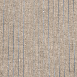 Natural Blue Linen Fabric Stripe