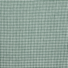 Linen Cotton Fabric Check Green White