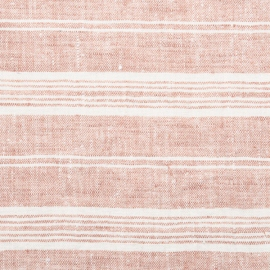 Linen Fabric Washed Multistripe Rosa