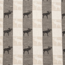 Jacquard Linen Fabric Natural Black Reindeer