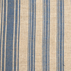 Linen Fabric Multistripe Natural Blue
