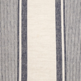 Linen Fabric Multistripe Natural Navy