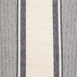 Linen Fabric Multistripe Natural Navy