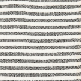 Linen Fabric Sample Stripe Black White