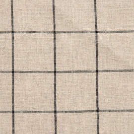 Linen Fabric Check Natural Black