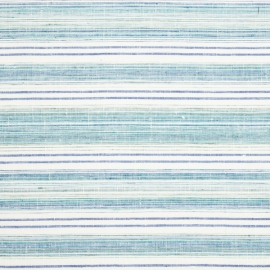 Linen Fabric Multistripe White Blue