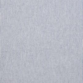 Linen Fabric Sample Pinstripe Blue Off White