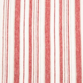 Linen Fabric Stripe White Red