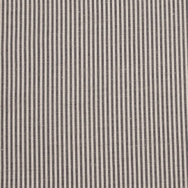 Linen Fabric Stripe Natural Black