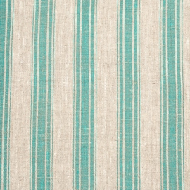 Linen Fabric Stripe Natural Green
