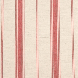 Linen Fabric Multistripe Natural Red