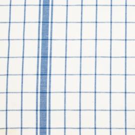 Linen Fabric Check White Blue