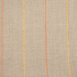 Linen Fabric Stripe Natural Orange