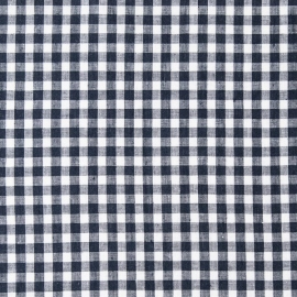 Check Linen Fabric Navy White