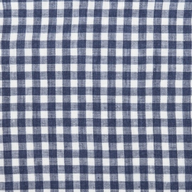 Check Linen Fabric Navy Blue Prewashed