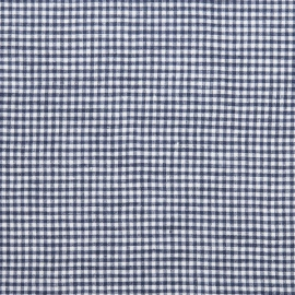 Gingham Linen Fabric Blue White