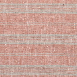 Brick Natural Linen Fabric Multistripe