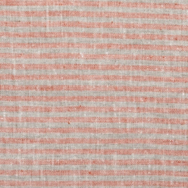 Brick Natural Linen Fabric Brittany